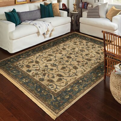 Hinkson Cream/Blue Area Rug Rug Size: Rectangle 53 x 76