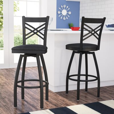 Pyron 32 Swivel Bar Stool (Set of 2) Upholstery: Black
