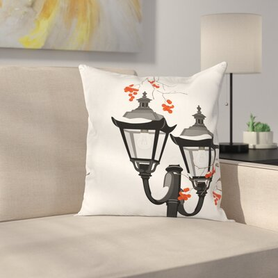 Lantern Snowy Branches Square Pillow Cover Size: 24 x 24