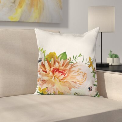 Anemone Fresh Leaves Square Cushion Pillow Cover Size: 18 x 18