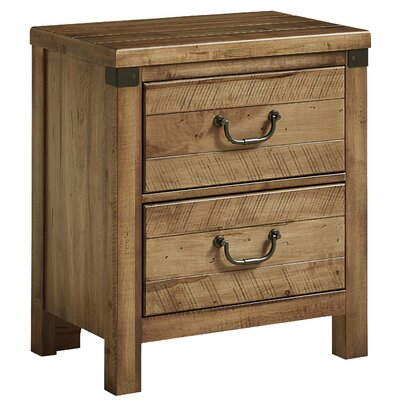 Rakowski 2 Drawer Nightstand with USB Charging Station Color: Natural Maple