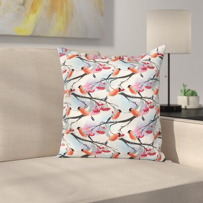 Bullfinch Birds on Shrubs Square Pillow Cover Size: 24 x 24