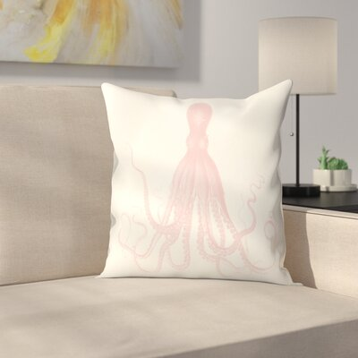 Mil Lenial White Octo Throw Pillow Size: 14 x 14, Color: White / Pink