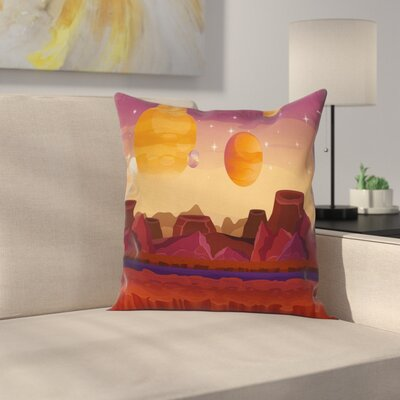 Outer Space Planetary Graphic Square Pillow Cover Size: 24 x 24