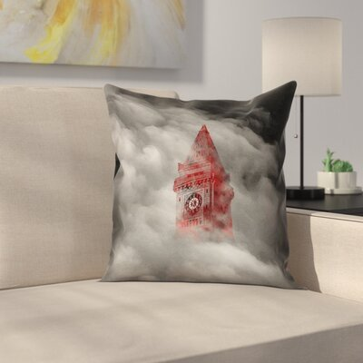 Watercolor Gothic Clocktower 100% Cotton Pillow Cover Size: 14 x 14