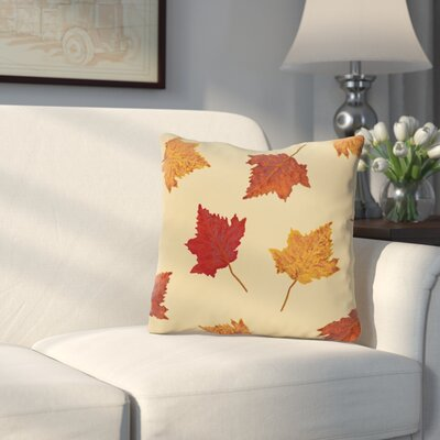 DeSales Dancing Leaves Floral Outdoor Throw Pillow Color: Off White