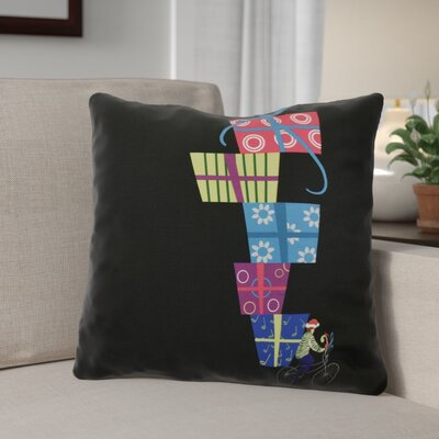 Christmas Presents Print Throw Pillow Size: 16 H x 16 W, Color: Black