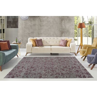 Dipasquale Champagne/Plum Gray Area Rug Rug Size: Rectangle 53 x 77
