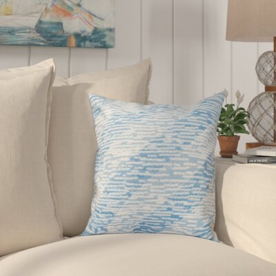 Boubacar Marled Knit Stripe Geometric Print Outdoor Throw Pillow Size: 20 H x 20 W, Color: Blue