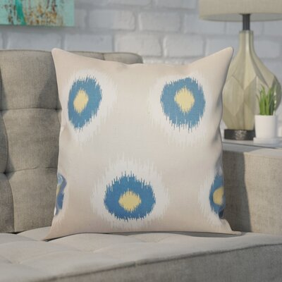 Shockey Ikat Throw Pillow Color: Denim Natural, Size: 18x18