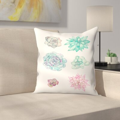 Elena ONeill Succulent Print Throw Pillow Size: 18 x 18