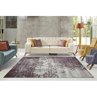 Dipasquale Champagne/Plum Area Rug Rug Size: Rectangle 5'3