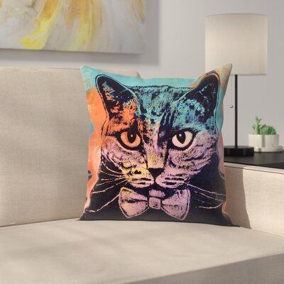 Michael Creese Old School Cat Throw Pillow Size: 20 x 20