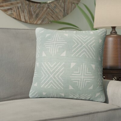 Bemelle Mud Cloth Throw Pillow Size: 16 H x 16 W, Color: Blue/ Ivory/ Teal