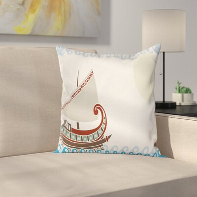 Ornate Greek Ship Square Pillow Cover Size: 18 x 18