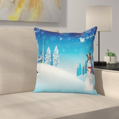 Christmas Snowman Church Stars Square Pillow Cover Size: 16 x 16