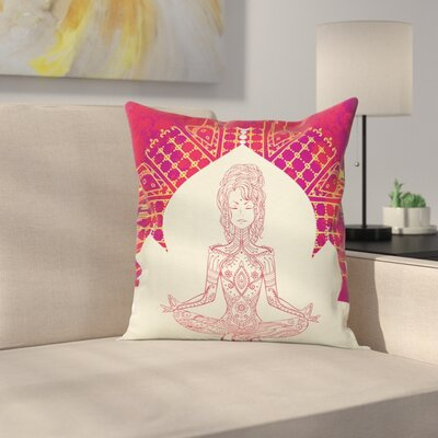 Yoga Mandala Meditation Girl Square Pillow Cover Size: 16