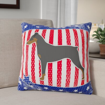 Patriotic USA German Pinscher Indoor/Outdoor Throw Pillow Size: 14 H x 14 W x 3 D