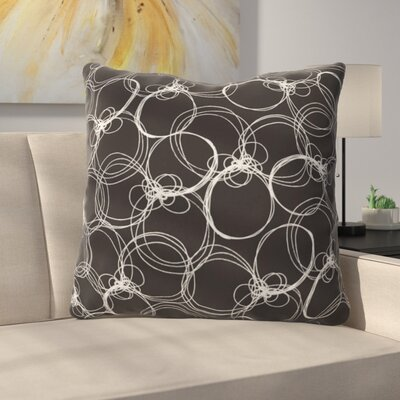 Circles Polyester Throw Pillow Color: Black/White