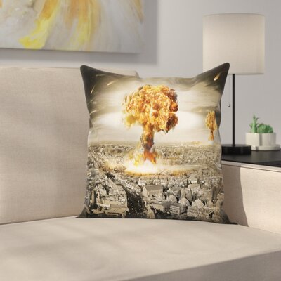 City Case Nuclear Bomb Square Pillow Cover Size: 16 x 16