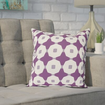 Waller Button Up Geometric Outdoor Throw Pillow Size: 20 H x 20 W, Color: Purple