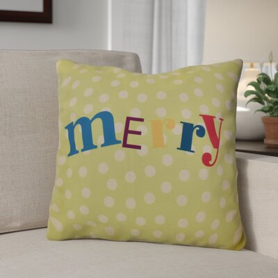 Merry Christmas  Decorative Holiday Word Print Throw Pillow Size: 16 H x 16 W, Color: Green
