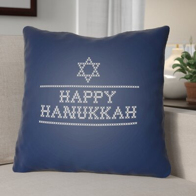 Happy Hannukah Indoor/Outdoor Throw Pillow Size: 20 H x 20 W x 4 D, Color: Dark Blue