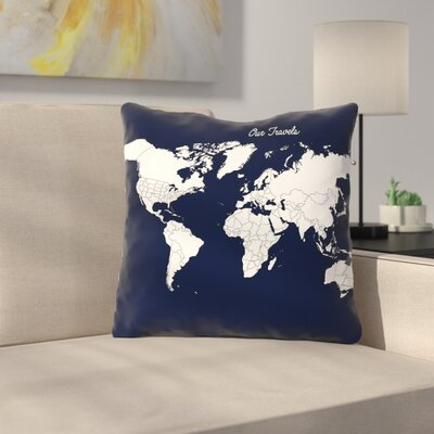 Our Travels Throw Pillow Size: 18 H x 18 W x 2 D, Color: Aqua