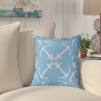 Hancock Anchors Up Geometric Print Throw Pillow Size: 26 H x 26 W, Color: Mid Blue