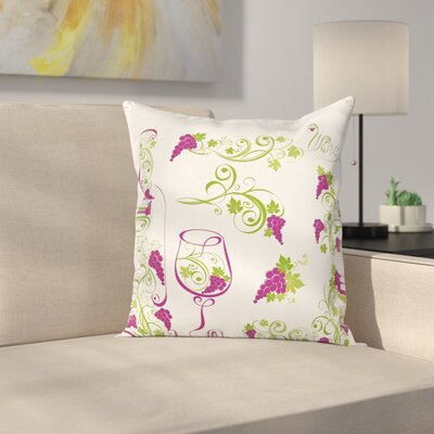 Wine Bottle Glass Grapevines Square Pillow Cover Size: 24 x 24