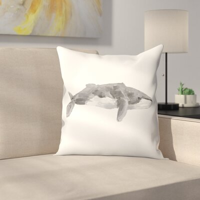 Jetty Printables Fin Whale Painting Print Throw Pillow Size: 18 x 18