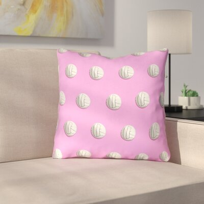Double Sided Print Down Alternative Volleyball Throw Pillow Size: 14 x 14, Color: Pink