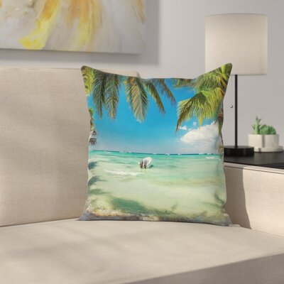 Surreal Sea Palm Tree Square Pillow Cover Size: 16 x 16