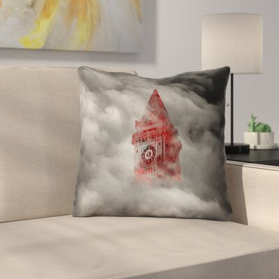 Watercolor Gothic Clocktower Throw Pillow Size: 16 x 16