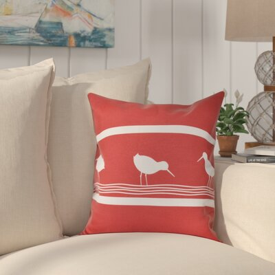 Hancock Birdwalk Animal Print Outdoor Throw Pillow Size: 18 H x 18 W, Color: Red