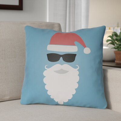 Cool Santa Outdoor Throw Pillow Size: 18 H x 18 W x 4 D, Color: Blue / Red / White / Black