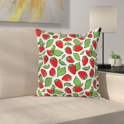 Juicy Strawberries Leaves Cushion Pillow Cover Size: 18 x 18