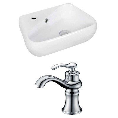 Ceramic 17.5 Bathroom Sink with Faucet and Overflow Installation Type: Wall Mount Sink