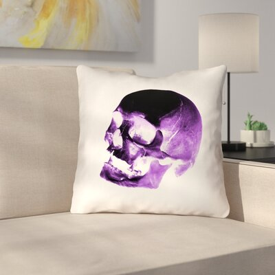Waterproof Skull Throw Pillow Color: Purple/Black/White, Size: 18 x 18