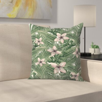 Jetty Printables Tropical Botanical Leaves Throw Pillow Size: 18 x 18