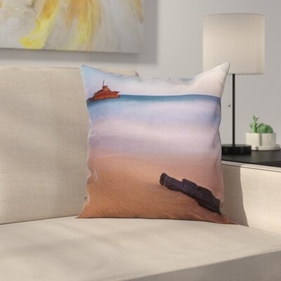 Nautical Shipwreck on Sea Dusk Square Pillow Cover Size: 24 x 24
