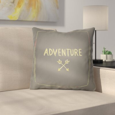 Square Shaped Accent Indoor/Outdoor Throw Pillow Size: 18 H x 18 W x 4 D, Color: Gray/Yellow