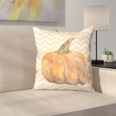 Jetty Printables Chevron Pumpkin Autumn Print Throw Pillow Size: 16 x 16