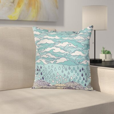 Rain and Umbrellas Fall Square Pillow Cover Size: 16 x 16