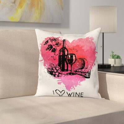 Wine Sketch Watercolor Heart Square Pillow Cover Size: 24