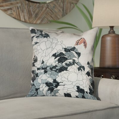 Clair Peonies with Butterfly Indoor Square Pillow Cover Color: Peach/Gray, Size: 26 x 26