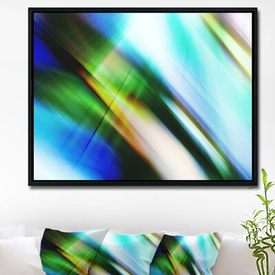 'Rays of Speed Blue Green' Framed Graphic Art Print on Wrapped Canvas ERNH4673 46702158