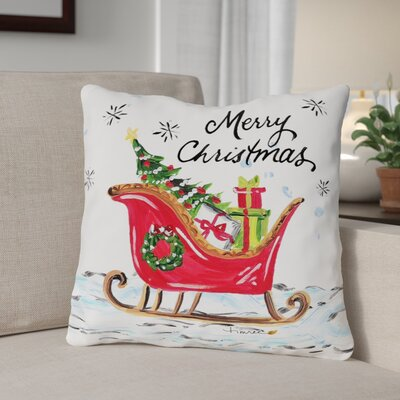 Santa's Sled Throw Pillow Size: 16