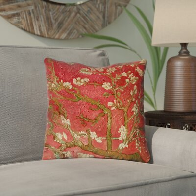 Lei Almond Blossom Throw Pillow Color: Orange, Size: 18 x 18