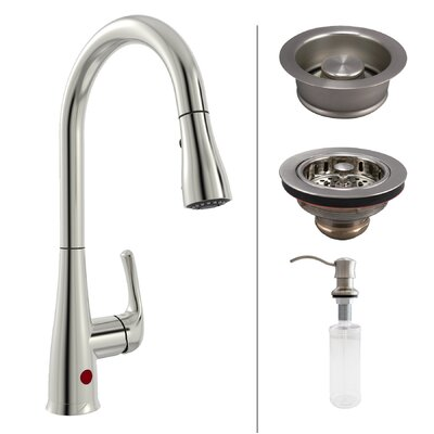 Premium Single Handle Touchless Kitchen Faucet with Strainer and Soap Dispenser